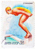 Stamp printed in USSR shows swimming, diving, female athlete jum