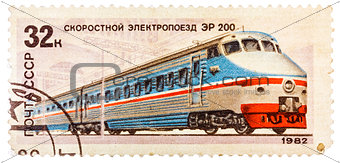 Stamp printed in the USSR (Russia) showing Locomotive with the i