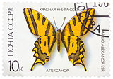 Stamp printed in the USSR shows butterfly Papilio alexanor