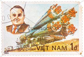 Stamp printed in the Vietnam shows Korolev spacecraft designer a