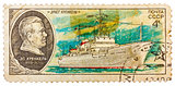 Stamp printed in USSR shows the ship Ernst Krenkel