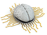 Human brain as computer chip. Concept of CPU.