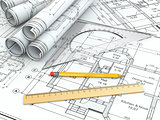 Concept of drawing. Blueprints and drafting tools.