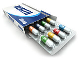 Health concept. Vitamin pills in box.