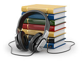 Audiobook concept. Headphones and books