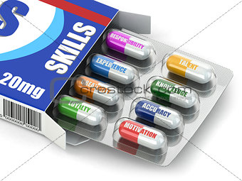 Skills for success. Box of pills with a list of positive qualiti