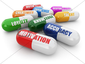 Skills for success. Pills with a list of positive qualities for