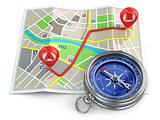 Navigation and gps concept. Compass and map.