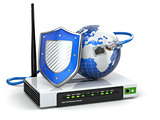Internet security. Router with shield and earth.