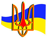 emblem and flag of Ukraine