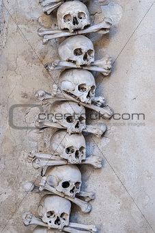 Skulls and bones , interior  Sedlec ossuary. Kutna Hora, Czech R