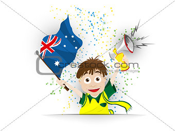 Australia Soccer Fan Flag Cartoon