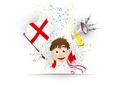 England Soccer Fan Flag Cartoon