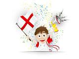 England Soccer Fan Flag Cartoon