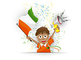 Ivory Coast Soccer Fan Flag Cartoon