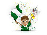 Nigeria Soccer Fan Flag Cartoon