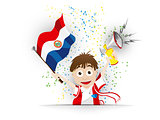 Paraguay Soccer Fan Flag Cartoon