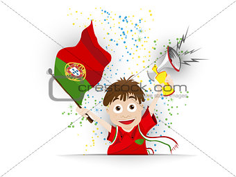 Portugal Soccer Fan Flag Cartoon