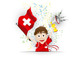 Switzerland Soccer Fan Flag Cartoon