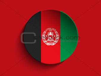 Afghanistan Flag Paper Circle Shadow Button