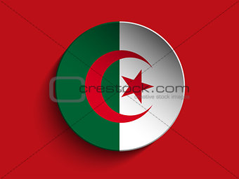 Flag Paper Circle Shadow Button Algeria
