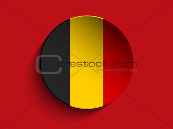 Flag Paper Circle Shadow Button Belgium