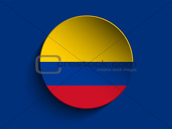 Flag Paper Circle Shadow Button Colombia