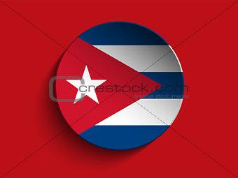 Flag Paper Circle Shadow Button Cuba