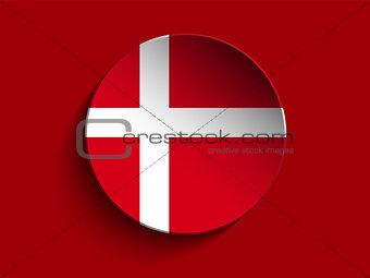 Flag Paper Circle Shadow Button Denmark