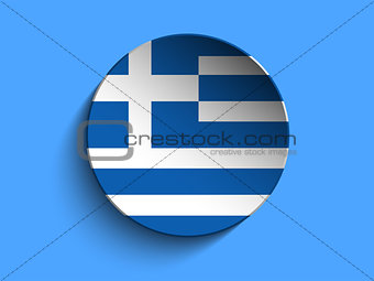 Flag Paper Circle Shadow Button Greece