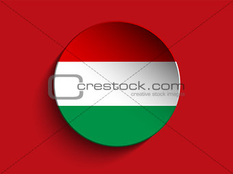 Flag Paper Circle Shadow Button Hungary