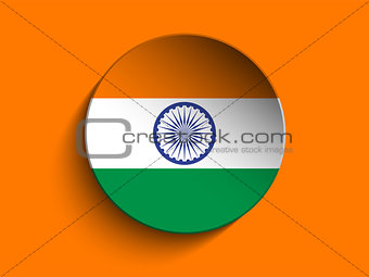 Flag Paper Circle Shadow Button India