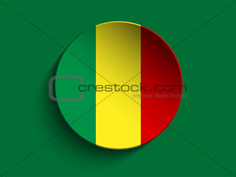 Mali Flag Paper Circle Shadow Button