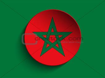 Flag Paper Circle Shadow Button Morocco
