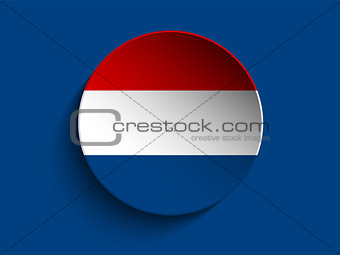 Flag Paper Circle Shadow Button Netherlands