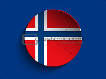 Flag Paper Circle Shadow Button Norway