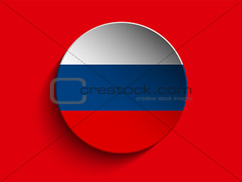 Flag Paper Circle Shadow Button Russia