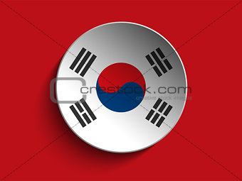 Flag Paper Circle Shadow Button South Korea