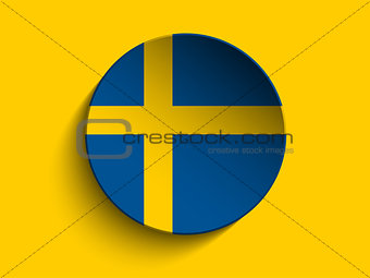 Flag Paper Circle Shadow Button Sweden