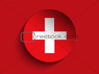 Flag Paper Circle Shadow Button Switzerland
