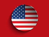 USA Flag Paper Circle Shadow Button