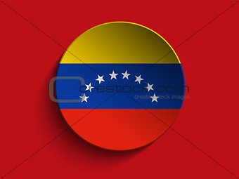 Flag Paper Circle Shadow Button Venezuela