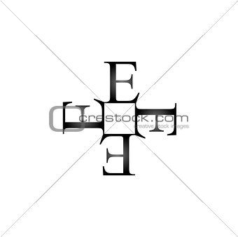Artwork with alphabet E