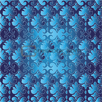 blue ottoman serial seamless pattern