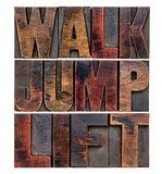 walk, jump, lift in wood type