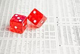 two red dice on the financial newspaper