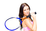 Sport Fitness Woman Holding Tennis Racket