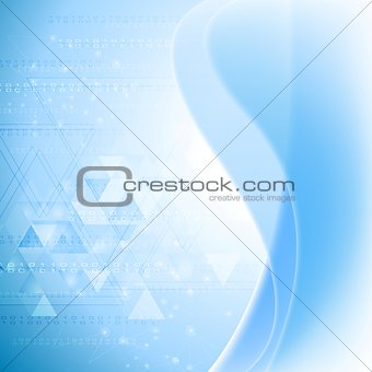 Abstract wavy tech background. Gradient mesh
