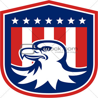 American Bald Eagle Head Flag Shield Retro
