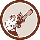 Lumberjack Tree Surgeon Arborist Chainsaw Circle Retro